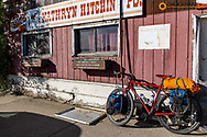 Touring bicycle along Colorful historic storefronts along the Main Street in Kathryn, North Dakota, USA