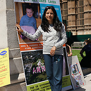 London,England,UK. 3rd June 2017. Worldwide Awareness Day victims, family and friends Light a Candle for the Vaccine Damaged victims in alone 10,000 baby vaccinated is damaged and in whole of UK is 1/20 Twenty child damaged by vaccine protest in Parliament Yard,London,UK. by See Li