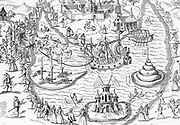 The Great Pond at Elvetham in 1591, the scene of the entertainment given by the Earl of Hertford during the visit of Elizabeth I.  The Queen's presence seat and her attendants at A, top left. Engraving.