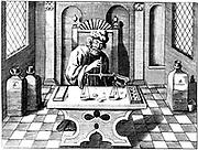 Assayer testing samples of gold or silver using a balance. From 1683 English edition of Lazarus Ercker 'Allerfurnemisten mineralischen Ertzt und Berckwercksarten', Prague, 1574. Copperplate engraving.