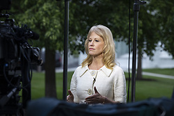 May 1, 2019 - Washington, District of Columbia, U.S. - Kellyanne Conway, counselor to United States President Donald Trump, participates in a television interview prior to speaking with members of the media in the West wing driveway at the White House in Washington, D.C. on May 1, 2019. Credit: Alex Edelman / CNP (Credit Image: © Alex Edelman/CNP via ZUMA Wire)
