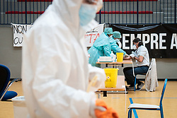 Covid-19. First day of serological tests in the gym of the middle school of Cisliano in Milan, Italy, on April 14, 2020. Photo by Stefano De Grandis/Fotogramma/IPA/ABACAPRESS.COM