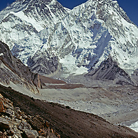 An unusual view of Mounts Everest & Nuptse from Changri Glacier.