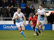 Sale Sharks Luke James makes a break during a Premiership Rugby Cup Semi Final  won by Sale 28-7, Friday, Feb. 7, 2020, in Eccles, United Kingdom. (Steve Flynn/Image of Sport)