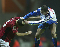 Photo. Aidan Ellis.Digitalsport<br /> Blackburn Rovers v Bournemouth.<br /> Carling Cup 2nd round.<br /> 22/09/2004.<br /> Blackburn's Brett Emerton clashes with  Bournemouth's john Spicer