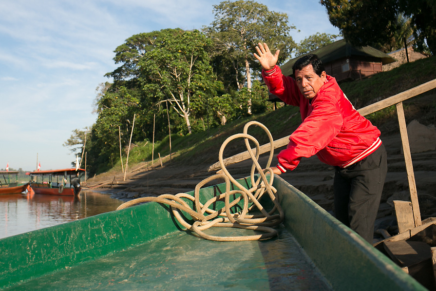 Manager of the lodge, Percy Carlos Rendon waves good bye as Frank Ski Kids prepare to leave the Amazon jungle of Peru.