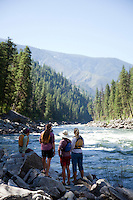 Scouting a rapid on the Main Salmon River in central Idaho