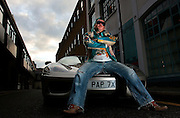 UK ENGLAND LONDON 15NOV06 - Darryn Lyons, also known as 'Mr Paparazzi' and chairman of the celebrity photo agency Big Pictures poses for a portrait with his Ferrari 360 Spider in Kensington, West London.<br /> Photography by Jiri Rezac<br /> Tel 0044 07947 884 517<br /> www.linkphotographers.com