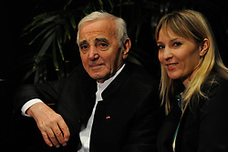 File - Charles Aznavour and his daughter Katia Aznavour at the premiere of musical Je M Voyais Deja in Montreal, Canada in 2010. Photo by APS Medias/ABACAPRESS.COM