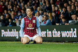 Jack Grealish of Aston Villa (making his first Premier League start) looks dejected - Photo mandatory by-line: Rogan Thomson/JMP - 07966 386802 - 07/04/2015 - SPORT - FOOTBALL - Birmingham, England - Villa Park - Aston Villa v Queens Park Rangers - Barclays Premier League.