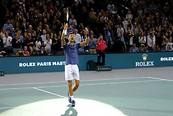 November 3, 2018 - Paris, France - Joy of Serbian player NOVAK DJOKOVIC after his victory against Swiss player ROGER FEDERER during the semi final of tournament Rolex Paris Master, at AccorHotels Arena Stadium in Paris - France..Novak Djokovic won 7-6 5-7 7-6 (Credit Image: © Pierre Stevenin/ZUMA Wire)