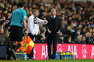 Steve McClaren, the Newcastle United shouts at the linesmen for giving an offside to Newcastle United.Barclays Premier league match, Tottenham Hotspur v Newcastle Utd at White Hart Lane in London on Sunday 13th December 2015.<br /> pic by John Patrick Fletcher, Andrew Orchard sports photography.