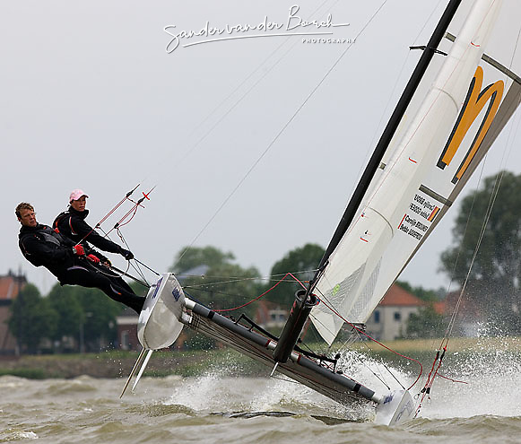 08_004275 © Sander van der Borch. Medemblik - The Netherlands,  May 25th 2008 . Sebbe Godefroid and Carolijn Brouwer sailing just after the finish of the medal race of the Delta Lloyd Regatta 2008.