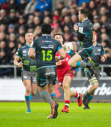 Shaun Venter of Ospreys claims the high ball<br /> <br /> Photographer Simon King/Replay Images<br /> <br /> European Rugby Champions Cup Round 5 - Ospreys v Saracens - Saturday 11th January 2020 - Liberty Stadium - Swansea<br /> <br /> World Copyright © Replay Images . All rights reserved. info@replayimages.co.uk - http://replayimages.co.uk