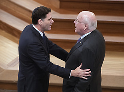 Ambassador of Israel to the United States Ron Dermer, left, converses with US Senator Patrick Leahy prior to the funeral service for the late US Senator John S. McCain, III (Republican of Arizona) at the Washington National Cathedral in Washington, DC, USA on Saturday, September 1, 2018. Photo by Ron Sachs/CNP/ABACAPRESS.COM