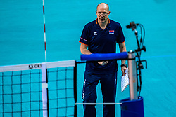 Coach Roberto Piazza of Netherlands in action during the CEV Eurovolley 2021 Qualifiers between Sweden and Netherlands at Topsporthall Omnisport on May 14, 2021 in Apeldoorn, Netherlands