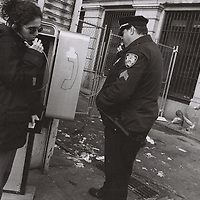1. When was this photo taken?<br /> <br /> October 1999<br /> <br /> 2. Where was this photo taken?<br /> <br /> near Foley Square<br /> <br /> 3. Who took this photo?<br /> <br /> I did<br /> <br /> 4. What are we looking at here?<br /> <br /> I was in lower Manhattan, near Foley Square, covering a Ku Klux Klan gathering where there were a lot of police officers and counter demonstrators and I must have seen this as I was leaving the area.<br /> <br /> 5. How does this old photo make you feel?<br /> <br /> I laughed when I saw this, which is probably why I took the picture, and I love the idea that a picture can get better with age. Of course you would never see this image again, in this form anyway, and it also reminds me of a much more gritty and visually interesting NYC.<br /> <br /> 6. Is this what you expected to see?<br /> <br /> I had no expectations actually. It's really a mystery as to why some film gets developed and some gets thrown in a bag.<br /> <br /> 7. What kind of memories does this photo bring back?<br /> <br /> It just really reminds me of the 1990's, which was a great time to be in New York<br /> <br /> 8. How do you think others will respond to this photo?<br /> <br /> Maybe they will smile and maybe it will bring back memories for them as well.