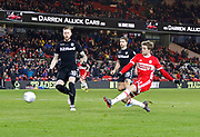 Goal scored by  Patrick Bamford of Middlesbrough during the EFL Sky Bet Championship match between Middlesbrough and Leeds United at the Riverside Stadium, Middlesbrough, England on 2 March 2018. Picture by Paul Thompson.