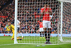 28th October 2017 - Premier League - Manchester United v Tottenham Hotspur - Spurs goalkeeper Hugo Lloris looks back at Marcus Rashford of Man Utd after he missed a good chance - Photo: Simon Stacpoole / Offside.