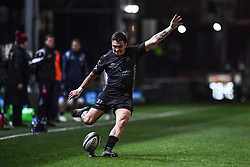 Jacob Botica of Dragons takes a kick at goal<br /> <br /> Photographer Craig Thomas/Replay Images<br /> <br /> Guinness PRO14 Round 7 - Dragons v Zebre - Saturday 30th November 2019 - Rodney Parade - Newport<br /> <br /> World Copyright © Replay Images . All rights reserved. info@replayimages.co.uk - http://replayimages.co.uk
