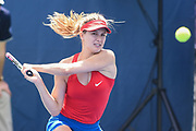 EUGENIE BOUCHARD hits a backhand during her semifinal doubles match with partner Sloane Stephens at the Citi Open at the Rock Creek Park Tennis Center in Washington, D.C.