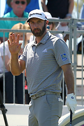 March 23, 2019 - Palm Harbor, FL, U.S. - PALM HARBOR, FL - MARCH 23: Dustin Johnson waves to the fans during the third round of the Valspar Championship on March 23, 2019, at Westin Innisbrook-Copperhead Course in Palm Harbor, FL. (Photo by Cliff Welch/Icon Sportswire) (Credit Image: © Cliff Welch/Icon SMI via ZUMA Press)