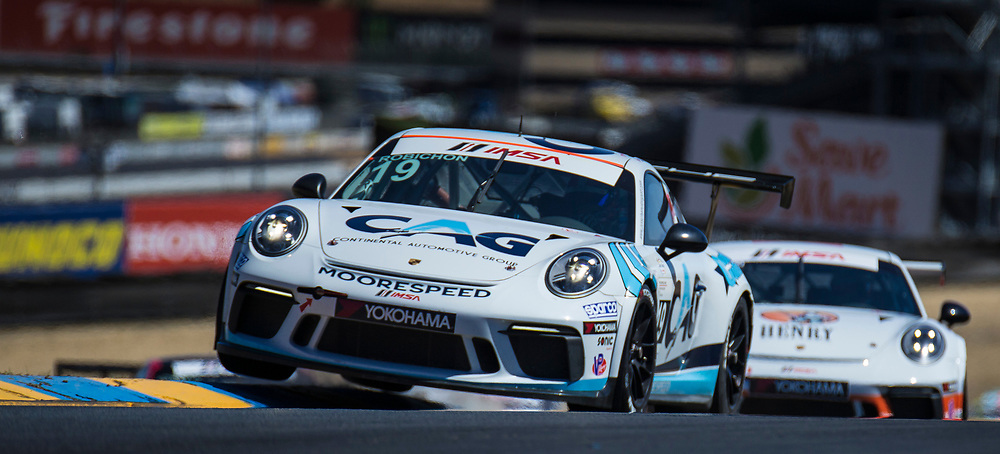 SEPT 15, 2018 Sonoma, CA, U.S.A : # 19 Zacharie Robichon takes first place with a fastest lap time 1:38.357 during the GoPro Grand Prix of Sonoma Porsche GT3 Race 1 at Sonoma Raceway Sonoma, CA  Thurman James / CSM
