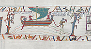 Bayeux Tapestry scene 34:  Messengers sail from England to tell Duke William of Harold's corination. BYX34 .<br /> <br /> If you prefer you can also buy from our ALAMY PHOTO LIBRARY  Collection visit : https://www.alamy.com/portfolio/paul-williams-funkystock/bayeux-tapestry-medieval-art.html  if you know the scene number you want enter BXY followed bt the scene no into the SEARCH WITHIN GALLERY box  i.e BYX 22 for scene 22)<br /> <br />  Visit our MEDIEVAL ART PHOTO COLLECTIONS for more   photos  to download or buy as prints https://funkystock.photoshelter.com/gallery-collection/Medieval-Middle-Ages-Art-Artefacts-Antiquities-Pictures-Images-of/C0000YpKXiAHnG2k