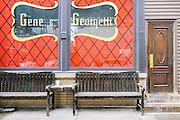 Benches outside Gene & Georgetti Italian Steak House in the River North neighborhood of Chicago, Illinois