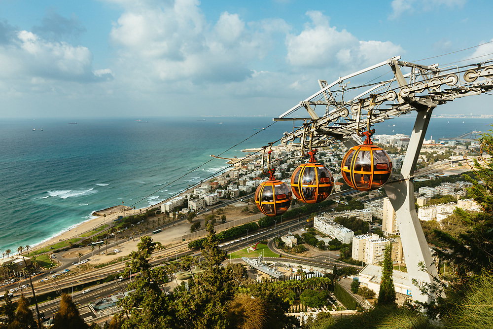 The Haifa cable car descends from the top of Mount Carmel near the Stella Maris monastery towards the lower station near the beach in Haifa, Northern Israel.