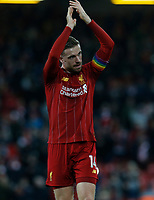 Football - 2019 / 2020 Premier League - Liverpool vs. Everton<br /> <br /> Jordan Henderson of Liverpool applauds the Kop at the end of the game , at Anfield.<br /> <br /> COLORSPORT/ALAN MARTIN