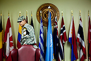 An American soldier Inside a building at Camp Bonifas located at the Joint Security Area (JSA). Camp Bonifas is home to the United Nations Command Security Battalion whose primary mission is to monitor and enforce the Armistice agreement of 1953 between North and South Korea. South Korea, Republic of Korea, KOR, 23rd of March 2010.
