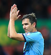 West Ham's Stewart Downing applauds the fans at full time - Stoke City vs. West Ham United - Barclay's Premier League - Britannia Stadium - Stoke - 01/11/2014 Pic Philip Oldham/Sportimage
