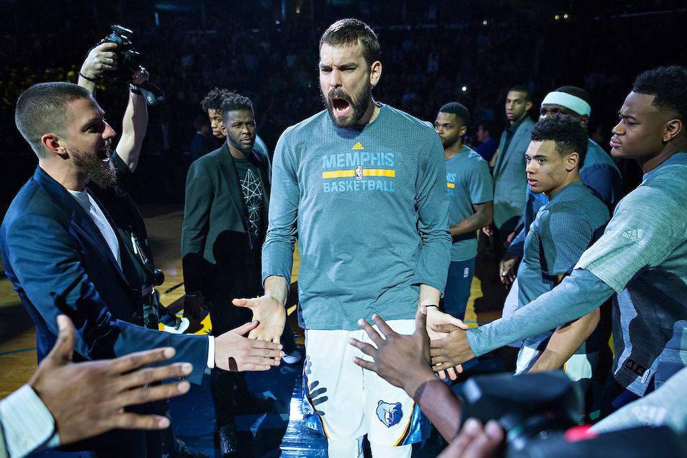 MEMPHIS, TN - DECEMBER 10:  Marc Gasol #33 of the Memphis Grizzlies during introductions before a game against the Golden State Warriors at the FedExForum on December 10, 2016 in Memphis, Tennessee.  The Grizzlies defeated the Warriors 110-89.  NOTE TO USER: User expressly acknowledges and agrees that, by downloading and or using this photograph, User is consenting to the terms and conditions of the Getty Images License Agreement.  (Photo by Wesley Hitt/Getty Images) *** Local Caption *** Marc Gasol