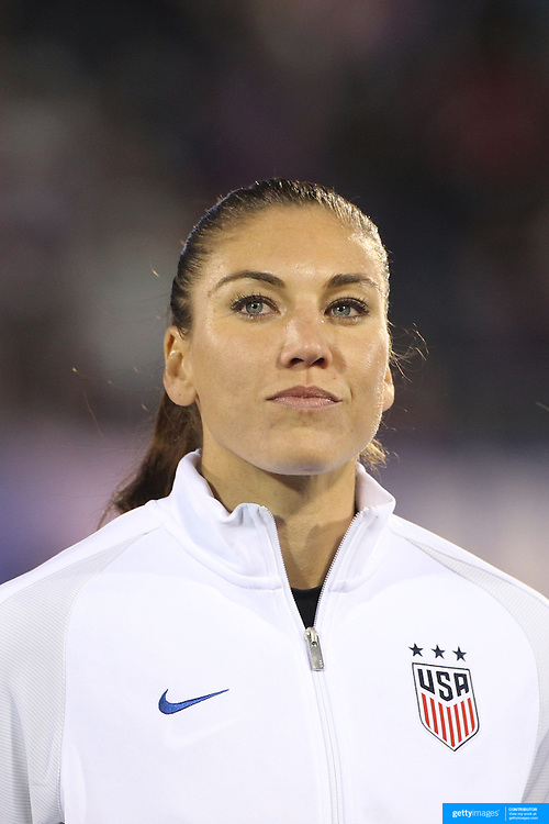 USA goalkeeper Hope Solo during team National Anthems before the USA Vs Colombia, Women's International friendly football match at the Pratt & Whitney Stadium, East Hartford, Connecticut, USA. 6th April 2016. Photo Tim Clayton