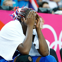 09 August 2012: France Isabelle Yacoubou is seen on the bench during 81-64 Team France victory over Team Russia, during the women's basketball semi-finals, at the 02 Arena, in London, Great Britain.