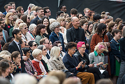 © Licensed to London News Pictures. 24/04/2018. London, UK. Crowds gather for the unveiling of a statue of Millicent Fawcett in Parliament Square, London. Dame Millicent, a leading Suffragist and campaigner for equal rights for women, is the first woman to be commemorated with a statue in Parliament Square. Photo credit: Ben Cawthra/LNP