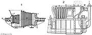 Longitudinal section of: 1. Parsons marine turbine. 2. Rateau's marine turbine. Anglo-Irish engineer Sir Charles Parsons (1854-1931) first applied steam turbine to marine engine in his 'Turbina' of 1894. Engraving