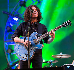 © Licensed to London News Pictures. 14/06/2015. Isle of Wight, UK.   The View performing live at Isle of Wight Festival 2015, Day 4 Sunday.   In this picture - Kyle Falconer.  Headline acts include The Prodigy, Blur and Fleetwood Mac.   Photo credit : Richard Isaac/LNP
