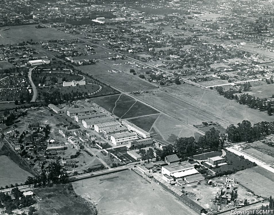 1919 Aerial of Clune Studios on Melrose Ave & Bronson Ave.