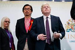 © Licensed to London News Pictures. 09/06/2017. London, UK. Foreign Secretary BORIS JOHNSON speaks at Uxbridge and South Ruislip election count centre in Brunel University, west London on Friday 9 June 2017. Photo credit: Tolga Akmen/LNP