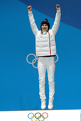 February 12, 2018 - Pyeongchang, South Korea - PERINE LAFFONT of France celebrates winning the gold medal for the Ladies's Moguls event in the PyeongChang Olympic games. (Credit Image: © Christopher Levy via ZUMA Wire)