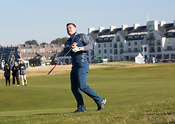 Brian O'driscoll plays the first. Alfred Dunhill Links Championship this morning at Championship Course at Carnoustie.