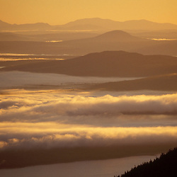 East Horn, Bigelow Mountain, ME. Appalachian Trail. Northern Forest. Clouds fill the valleys to the east of Bigelow Mtn.