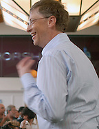 05/06/07 Omaha, NE Microsoft's Bill Gates came out to support Warren Buffett as he was getting ready to play table tennis as part of event for  the Berkshire Hathaway annual meeting Sunday at Regency Court Sunday afternoon..(photo by Chris Machian/Prarie Pixel Group).