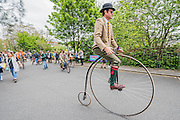 Penny farthing riders - The Tweed Run, a very British public bicycle ride through London's streets, with a prerequisite that participants are dressed in their best tweed cycling attire. Now in it's 8th year the ride follows a circular route from Clerkenwell via the Albert Memorial, Buckinham Palace and Westminster.