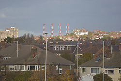 November 5, 2016 - Liverpool, England, United Kingdom - Cranes, along with houses in the town of New Brighton in the foreground, stand at the site of the new Liverpool 2 deep-sea container port on November 5, 2016 in Liverpool, England. (Credit Image: © Jonathan Nicholson/NurPhoto via ZUMA Press)