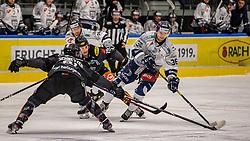 13.12.2019, Messestadion, Dornbirn, AUT, EBEL, Dornbirn Bulldogs vs Fehervar AV 19, 27. Runde, im Bild v. l. Ramon Schnetzer (Dornbirn Bulldogs), Tomi Matti Juhani Koerkkoe (Dornbirn Bulldogs) und Csanad Erdely (Fehervar AV 19) // during the Erste Bank Eishockey League 27th round match between Dornbirn Bulldogs and Fehervar AV 19 at the Messestadion in Dornbirn, Austria on 2019/12/13. EXPA Pictures © 2019, PhotoCredit: EXPA/ Rinderer Peter