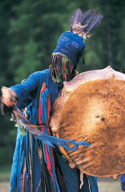 Shaman<br /> Performing Oovo Ceremony<br /> Darkhad Depression<br /> Northern Mongolia