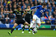 Ross Barkley of Everton (r) shields the ball from Pedro of Chelsea. Premier league match, Everton v Chelsea at Goodison Park in Liverpool, Merseyside on Sunday 30th April 2017.<br /> pic by Chris Stading, Andrew Orchard sports photography.